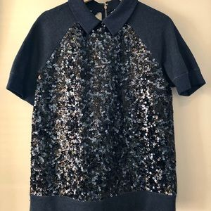 Kate Spade New York Sequin Short Sleeve Top